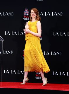 Emma Stone attending the hand and footprint ceremony for her new movie La La Land at the TLC Chinese Theatre in Los Angeles.