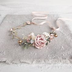 Flower crown made with gold leaves, berries, ivory petit heart, blush, ivory and withe flowers, dusty greenery and babys breath. Due to the flexible design of wreath individually adapts to the shape of the head. For child 1-7 years old: Length 29 cm / 11.4 inches. For adults: Length 38 cm /