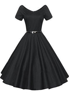 LUOUSE Rétro Vintage années 50 's Style Audrey Hepburn Rockabilly Swing, Robe de Bal à Manches Courtes avec Ceinture, http://www.amazon.fr/dp/B01E70T9C8/ref=cm_sw_r_pi_awdl_xs_kvKIybNMSCQG5