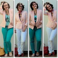 blog v@ LOOKS | por leila diniz: 2 LOOKs da saga calças coloridas novas (branca e azul) e casaqueto hering novo também (risos)