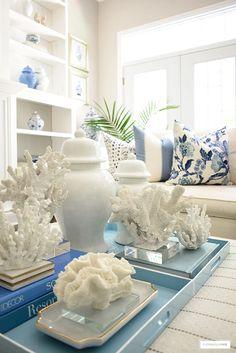 Beach Living Room, Coastal Living Rooms, Living Room Decor, Blue And White Pillows, White Decor, Outdoor Living, Decorating Ideas, Summer Decorating, Decor Ideas
