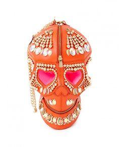 Orange Armor Embroidered Skull Bag by Anish Arora $1300