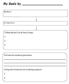 Worksheets for back to school goal setting: setting goals worksheet goal se Goal Setting Sheet, Goal Setting Template, Goal Setting For Students, Goals Template, Smart Goal Setting, Goal Setting Worksheet, Setting Goals, Goal Settings, Smart Goals Worksheet