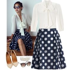 """""""Polka dot and Tie front blouse style steal!"""" by jamie-burditt on Polyvore"""