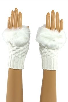 White Wrist Length Faux Fur Fingerless Gloves  Stroke me, stroke me! Or so the song goes... And yes, the faux fur on these pups is as soft as it looks. Perfect for brushing that snowflake from your cheek when the rest of your world is making you chapped and raw.#fingerless #fashion #crochet