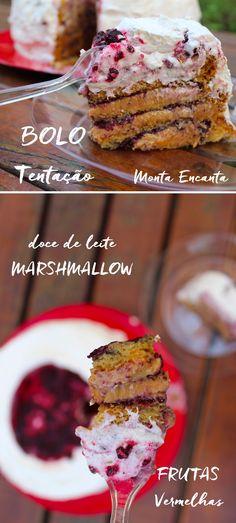 Bolo Tentação, equilíbrio perfeito de sabores na boca! 3 camadas de pão de ló intercaladas com doce de leite, frutas vermelhas e Marshmallow caseiro.