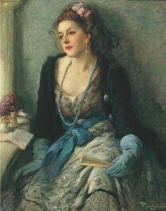 Fernand Toussaint (Belgian artist, 1873-1955) Femme élégante à l'opéra with Fan