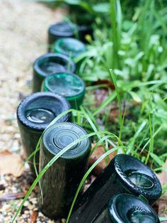 Recycled Bottle Edging - This would be fun  . .  . drinking all that wine beforehand!
