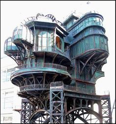"""A steampunk treehouse, built for the movie """"City of Lost Children""""."""