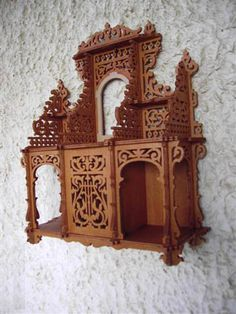 Sideboard shelf scroll saw fretwork pattern Fret Saw, Whimsical Painted Furniture, Laser Cut Box, Woodcut Art, Scroll Saw Patterns Free, Laser Art, Wood Burning Patterns, Miniature Rooms, Wooden Shapes
