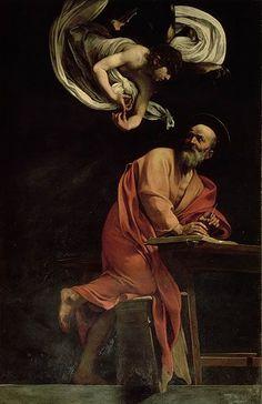 """PINTURA ::: """"San Mateo y el Ángel"""", 1602 - CARAVAGGIO - BARROCO, Claro ejemplo, estructura diagonal, movimiento y las luces puntuales."""