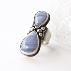"Unique silver ring of two striking blue lace agates in a beautiful embellished setting - ONE of a KIND, US size 6.75 - ""Two Sisters Ring"""