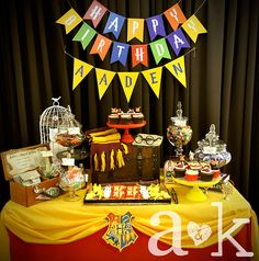 Wow!  What an awesome dessert table at a Harry Potter party!  See more party ideas at CatchMyParty.com!  #harrypotter #partyideas