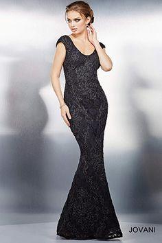 f73134cb4e4 Black Cap Sleeve Evening Dress 99346 Black Evening Dresses