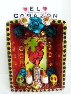 day of the dead altar Mexican Crafts, Mexican Folk Art, Mexican Stuff, Fun Crafts, Diy And Crafts, Arts And Crafts, Spanish Projects, Cigar Box Crafts, Day Of The Dead Skull