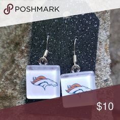 "Denver Broncos Earrings Broncos Football Jewelry Denver Broncos Earrings Broncos Football Jewelry NFL  Glass Square – 16mm or .63"" Earwire is Sterling Silver Rubber Earnuts Included Not water proof. Remove earrings when showering or swimming. You will receive exactly what is pictured.  Note:   Includes small pieces, so please keep out of the reach of children. Handmade Jewelry Earrings"