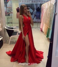 2a159b68d0 Simple Tank Straps Red Prom Dresses 2018 High Slit Evening Dresses