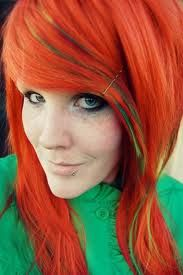 Orange hair with small bits of green <3