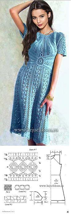 Платье крючком (схемы + выкройка)