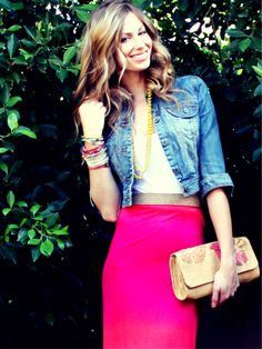 style inspiration: maxi dress as skirt + bringing back the jean jacket