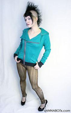 Jade Green Moto Hoodie Jacket Punk Motorcycle Asymmetrical Sweatshirt Gray. $54.00, via Etsy.