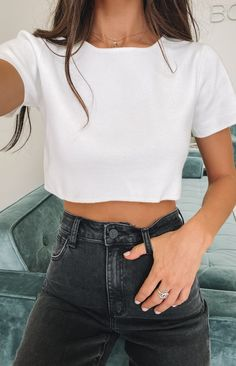 Live your ultimate Kim K fantasy in the Monica Crop Tee White. Wear it with matching Phoebe Midi Skirt White and a strappy heel for a sexy, chic look! Basic Outfits, Teen Fashion Outfits, Summer Outfits, Girl Outfits, Crop Top Outfits, 2000s Fashion, Kpop Fashion, Womens Fashion, Cute Comfy Outfits