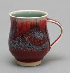 Wheel-thrown Porcelain Mug with Red and Celadon Glaze by Hsinchuen Lin