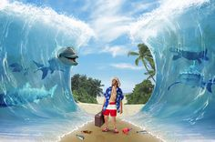 """Create a Surreal """"Parting of the Sea"""" Photo Manipulation - Tuts+ Design & Illustration Tutorial Funny Photoshop, Photoshop Design, Photoshop Tutorial, Photoshop Actions, Adobe Photoshop, Photoshop Projects, Photoshop Face, Photoshop Program, Photoshop Elements"""
