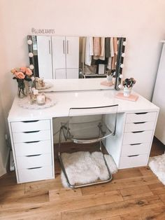 My makeup table. Alex drawers from ikea. Separate table top from ikea. Bathroom lights from ikea & chair from ikea Makeup Room Decor, Makeup Rooms, Teenage Room Decor, Room Ideas Bedroom, Bedroom Decor, Bedroom Storage Ideas For Clothes, Bedroom Storage For Small Rooms, Modern Bedroom, Bedroom Designs