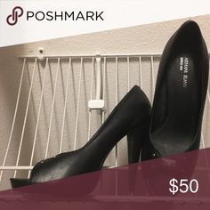 Armani Jeans black high heels Black leather Armani Jeans shoes size 41, leather sole, with Armani logo detail. Almost new Armani Jeans Shoes Heels