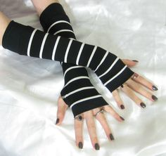 Striped Arm Warmers Black Fingerless gloves sleeves  by Mellode