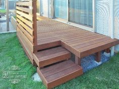 Perfect idea to create wide low tread steps to deck Deck Design, House Design, Porch And Terrace, Deck Steps, Outdoor Stairs, Sloped Garden, Decks And Porches, Outdoor Furniture Sets, Outdoor Decor
