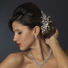 Stunning Cubic Zirconia Necklace and Earring Wedding Jewelry Set