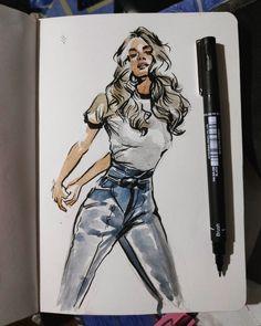 Watercolor and brush pen : drawing pen art drawing Cool Art Drawings, Art Drawings Sketches, Sketch Pen Drawing, Drawing Ideas, Sketching, Watercolor Brushes, Watercolor Art, Brush Texture, Lettering For Beginners