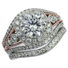 Gottlieb & Sons 29662 - Amazing vintage inspired engagement set has two rows of shared prong set diamonds on either side of two rows of beaded rose gold, meeting at the halo center, adding an artistic touch to this beautifully unique piece. The matching diamond wedding band curves slightly up nestling perfectly next to the engagement ring.