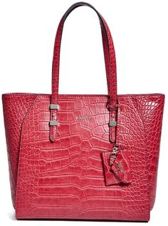 GUESS Gia Crocodile-Embossed Tote