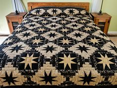 Courthouse Log Cabin Stars Quilt -- exquisite specially made Amish Quilts from Lancaster (hs6814)