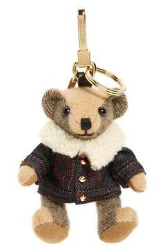 07e13ed636d Burberry Thomas Bear Lambskin Trim Cashmere Bag Charm Burberry Bear