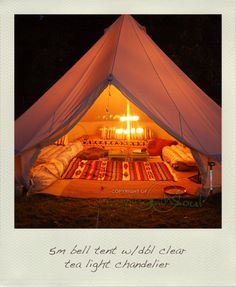 camping in a 5m bell tent complete with candle chandelier = glamping.