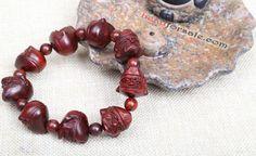 original india lobular red sandalwood beads bracelet with chinese jigong monk
