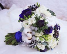 Зимний синий букет с анемонами и хлопком, Текст, Свадебное оформление и флористика