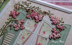 English Country Garden quilt - block 3  rose detail by Regina Mara