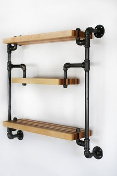 Shelves Unit Restaurant - Hanging Industrial Style Shelf in Black Iron Pipe and Butcher Block Wood Shelves Wall Hung Unit Modern Statement Piece 3 Levels. Hanging Wood Shelves, Diy Pipe Shelves, Industrial Pipe Shelves, Industrial House, Wall Shelves, Industrial Style, Vintage Industrial, Glass Shelves, Pipe Shelving
