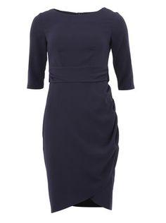 Closet - Tmavě modré šaty se zavazováním v pase a 3/4 rukávy - 1