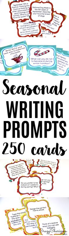 Looking for low-prep writing prompts you could use all year around? Check out 252 cards with fall, winter, spring and summer topics. Provide students with writing tasks and ideas. The packet contains narrative, informational and opinion writing prompts for teens. The prompts can be used as Writing Centers, as well as with adults during ESL lessons. | CrazyCharizma