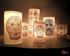 Download and print FREE DAY OF THE DEAD IMAGES - wrap around glasses/jars for Halloween votives.