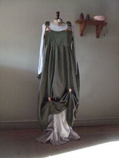 Lagenlook Quirky, Balloon shaped pinafore dress in thick cord  with Real leather tabs,unusual  elastic braces and hitches ,Plus Size.Xmas