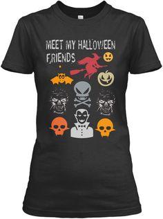 Meet My Halloween Friends Black T-Shirt Front
