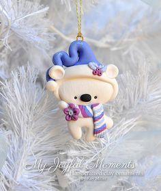 Handcrafted Polymer Clay Polar Bear Ornament by MyJoyfulMoments