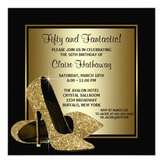 Black Gold High Heels Womans Birthday Party Announcement 50th 60th Invitations